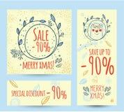 Baner för rengöringsduk för mall för julförsäljningsdesign Arkivfoton