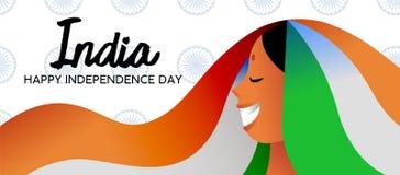 Baner för rengöringsduk för flicka för Indien självständighetsdagen indiskt stock illustrationer
