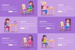 Baner för rengöringsduk för kreativitet- och vetenskapsmallvektor vektor illustrationer