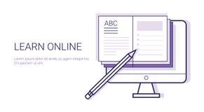 Baner för rengöringsduk för mall för utbildning för Learing online-affärsidéElearning med kopieringsutrymme stock illustrationer