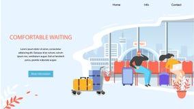 Baner för rengöringsduk för vektor för väntande område för flygplats bekvämt royaltyfri illustrationer