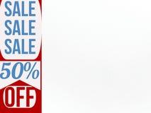 Baner 50% för Sale försäljningsförsäljning av rabatt med den vita sidan för personligt bruk royaltyfri illustrationer