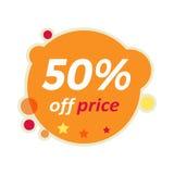 Baner för Sale runda 50 procent av prisrabatt royaltyfri illustrationer