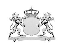 Baner för silverlejonvapen stock illustrationer