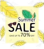 Baner för sommarförsäljningsmall, specialt erbjudande på rabatt upp till 70% av vektor illustrationer