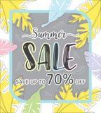 Baner för sommarförsäljningsmall, specialt erbjudande på rabatt upp till 70% av royaltyfri illustrationer