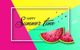 Baner för sommartid med stycken av vattenmelon Fotografering för Bildbyråer