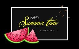 Baner för sommartid med stycken av vattenmelon Arkivbilder