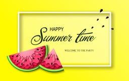 Baner för sommartid med stycken av vattenmelon Royaltyfri Bild