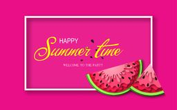 Baner för sommartid med stycken av vattenmelon Royaltyfria Bilder