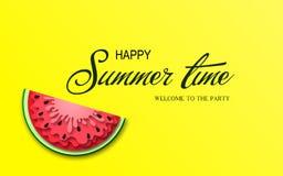 Baner för sommartid med stycken av vattenmelon Arkivbild