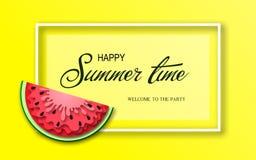 Baner för sommartid med stycken av vattenmelon Royaltyfria Foton