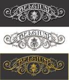 Baner för tappningBelgien etikett, med, svart och guld vektor illustrationer