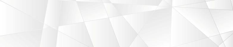Baner för tech för silvervitabstrakt begrepp polygonal Arkivbild