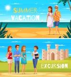 Baner för tecknad film för loppbyrå vektor illustrationer