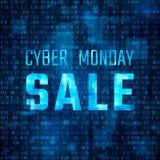 Baner för teknologi för Cybermåndag försäljning Rabatterbjudandemall på bakgrund för binär kod också vektor för coreldrawillustra royaltyfri illustrationer