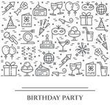 Baner för tema för födelsedagparti horisontal Uppsättning av beståndsdelar av kakan, gåva, champagne, diskot, fyrverkerit och ann vektor illustrationer