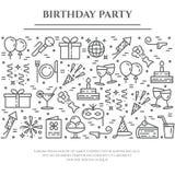 Baner för tema för födelsedagparti horisontal Uppsättning av beståndsdelar av kakan, gåva, champagne, diskot, fyrverkerit och ann Arkivbild