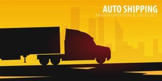 Baner för transportbransch, logistiskt och leverans halv lastbil också vektor för coreldrawillustration vektor illustrationer