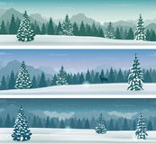Baner för tre snöig landskap med den lösa naturen, berg och snöträd vinter för snow för pojkeferielay vektor royaltyfri illustrationer