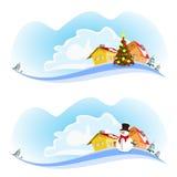 Baner för två jul Royaltyfri Bild
