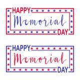 Baner för två vektor för Memorial Day Garneringar med stjärnor, bokstäver och ramen för USA Memorial Day vektor illustrationer
