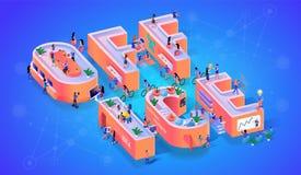 Baner för typografi för rum för kontor för affärsföretag stock illustrationer