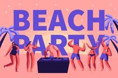 Baner för typografi för semester för sommarstrandparti hänfört Tropisk musik för klubbaDj-lek för utomhus- folk Teckendans på fer royaltyfri illustrationer