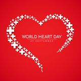 Baner för världshjärtadag - argt tecken för vit med hjärtatecknet på röd bakgrundsvektordesign Arkivbilder