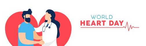 Baner för världshjärtadag av doktorn och patienten vektor illustrationer