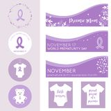 Baner för världsPrematuritydag, affischer och emblemvektormallar Royaltyfria Foton