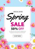 Baner för vårförsäljningsaffisch med att blomma blommabakgrundsmallen Design för annonsering, kupong, reklamblad, broschyr, räkni stock illustrationer