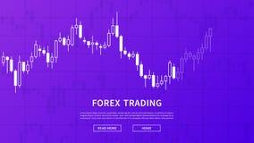 Baner för vektor för aktiemarknaddiagramgraf på purpurfärgad bakgrund royaltyfri illustrationer