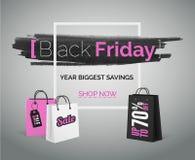 Baner för vektor för Black Friday försäljningsmode Rosa vit shoppa påse med ramen arkivbild