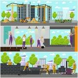Baner för vektor för begrepp för konstruktionsplats Byggnad, arbetare och maskiner, kran stock illustrationer