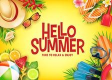 Baner för vektor för Hello sommar realistiskt i gul bakgrund med tropiska beståndsdelar som dykapparatdykningutrustning royaltyfri illustrationer