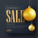 Baner för vektorfyrkantsvart för julförsäljning Royaltyfri Foto
