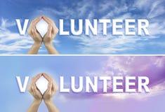 Baner för volontärförfråganWebsite x 2 arkivbild