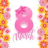 Baner för vykort för lyckliga internationella kvinnors dag dekorativt med härliga vårblommor, 8 mars, vektorillustration stock illustrationer
