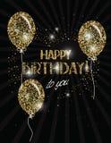 Baner för lycklig födelsedag med abstrakta guld- luftballonger Royaltyfri Bild
