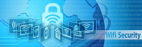 Baner för Wifi säkerhetsskydd Arkivfoto