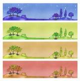 baner fyra stock illustrationer