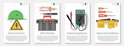 Baner fyra för elektrisk utrustning vektor illustrationer