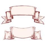 Baner illustration för vektor för ram för tappning för etikettuppsättning handen dragen skissar vektor illustrationer