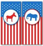 Baner med åsnan och elefanten som symboler röstar av USA Förenta staternapolitiska partier Royaltyfri Bild