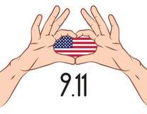 Baner med amerikanska flaggan inom mänskliga händer för ` s royaltyfri illustrationer