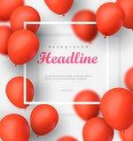 Baner med ballonger på den vita bakgrunden Vektormapp för EPS 10 illustration stock illustrationer