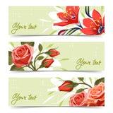 Baner med blommor stock illustrationer