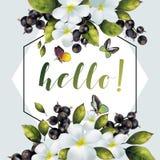 Baner med blommor och vinbäret för din text Arkivfoton