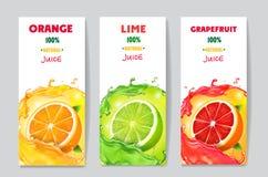 Baner med citrusfruktfruktsaft och färgstänk Packedesign för grapefrukt, för limefrukt och för orange drink stock illustrationer